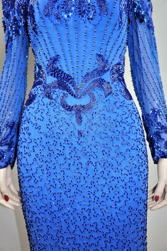 Kahiln Deco Heavily Gown Beaded Dress Sz Glass and Art Silk Naheem Lillie 10 Flapper Beaded Blue Blue Evening Rubin Beaded Style 80s qSFHCxxw