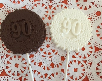 "Number ""90"" Chocolate Lollipops(12 qty)-90th Birthday Party/90th Celebration/Number 90 Party Favor/90th Anniversary/Party Favors"