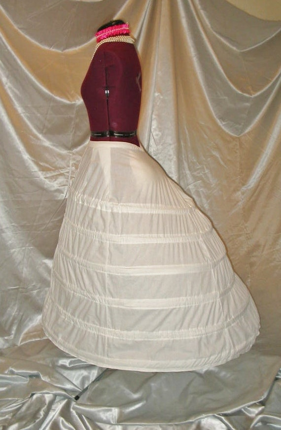 Wedding Gown Cage Crinoline with Train Support Victorian Civil War Elliptical Hoop Cage