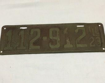 Antique 1923 Illinois License Plate