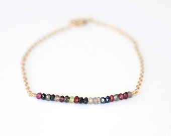 Multi Gemstone Bar Bracelet // 14K Gold Filled // Sterling Silver// Rose Gold// simple everyday modern layering bracelet
