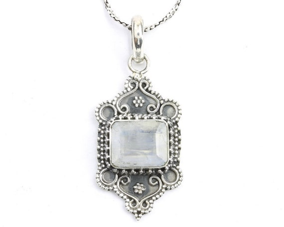 Boheme Moonstone Sterling Silver Necklace, Moonstone Jewelry, Facet Cut, Gemstone, Meditation, Spiritual, Boho, Gypsy, Festival