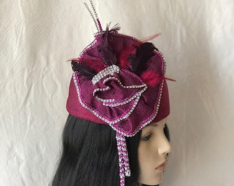 Purple Plum Eggplant Aubergine Women's Easter Sunday Church hat,Formal church hat,Mother of the Bride hat,Mother's Day Brunch Hat, Statement