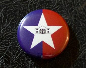 "1"" San Antonio TX flag button - Texas, city, pin, badge, pinback"
