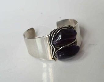 Fine and rare vintage modernist Francisco Rebajes Sterling Silver Wire Wrapped Amethyst  Cuff Bracelet.