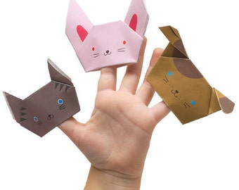 Fold-by-Number Origami Finger Puppets Kit