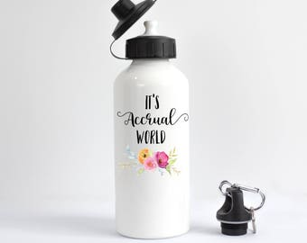Accountant Water Bottle, It's Accrual World Water Bottle, Funny Accountant Gift, CPA Gift, It's Accrual World, Funny Gift For Accountant
