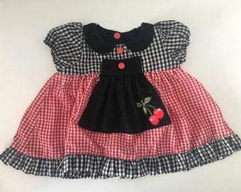Girls check cherry top dress rockabilly style