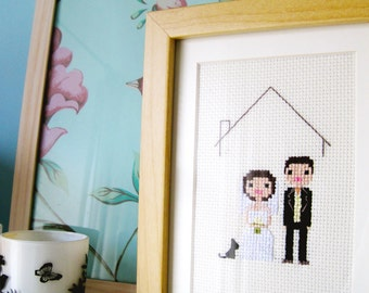 Wedding Custom Portrait in Pixel Cross Stitch (Framed)