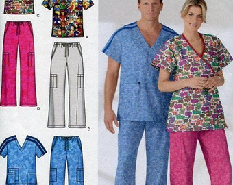 Free Us Ship Simplicity 4378 Uniform Medical Scrubs Top Cargo Pocket Pants Dr Nurse Doctor Hospital Size XS-M Chest 30 32 34 36 38 40 New