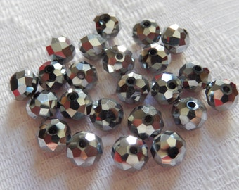 24  Shiny Silver Metallic Faceted Rondelle Crystal Beads  8mm x 6mm