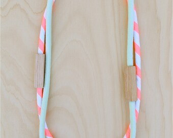 2 Piece MIXED - Pale Mint Green and Neon Salmon Pink WOOD and COTTON Fabric Necklaces