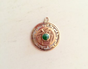 14K Gold Jade Pendant Necklace Charm Bracelet 2.1 Grams Asian Characters