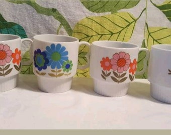 Vintage 1970s Floral Stacking Mugs Made in Japan