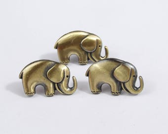 Metal Elephant Buttons - Herd of 5! [MB0004]