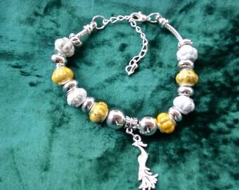 Warm yellows and white, Euro style bracelet
