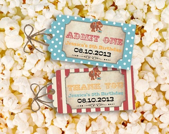 Vintage Circus Party Favor Tags - INSTANT DOWNLOAD - Editable & Printable Birthday Decorations by Sassaby
