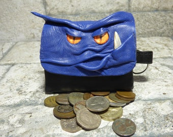 Blue Leather Zippered Coin Purse Change Purse Monster Face Pouch Key Ring Harry Potter Labyrinth 14