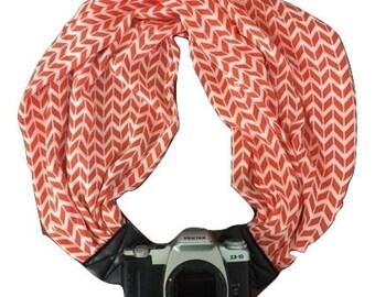 Camera Strap with Lens Pocket -  The Original Camera Scarf Strap With Zippered Pocket - Orange and White Chevron
