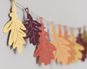 Oak Leaf - Autumn Garland - Autumn Decorations - Thanksgiving Decor - Fall Wedding - Paper Leaf Garland - Rustic Leaf Garland - Rustic Decor