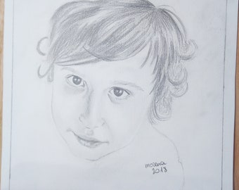 custom portrait in pencil and charcoal mixed media