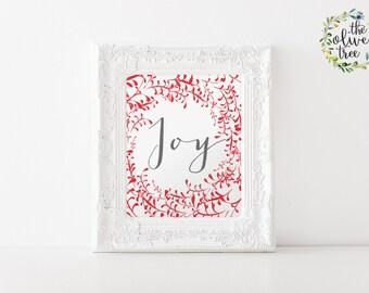 Christmas print, Winter printable Holiday wall art decor, Joy art Print, INSTANT DOWNLOAD - Joy