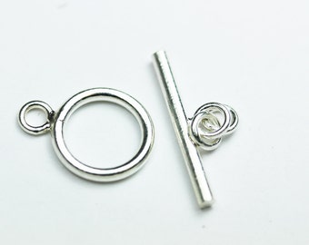 2sets 925 Sterling Silver Jewellery findings Toggle Clasp, 9mm Circle w/4mm closed jump ring, Tbar 15mm long, Hole3mm - FDSSCS0035