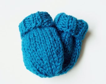 Hand Knit Infant Baby Mittens in Sapphire Blue, Size 3 to 6 Months Warm Winter Clothing, Kids No Thumb Mitts, Hand Warmers for Boy or Girl