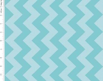 Aqua Blue Tone on Tone Medium Chevron by Riley Blake - C380-24-AQUA
