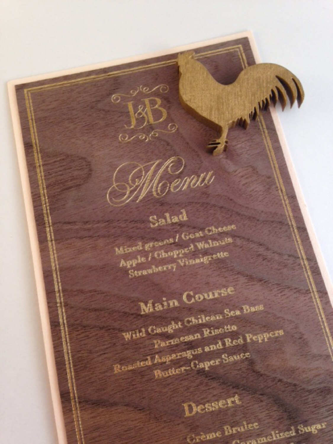 Plated Meal Service Pieces CHICKEN OPTION Wood Laser Cut