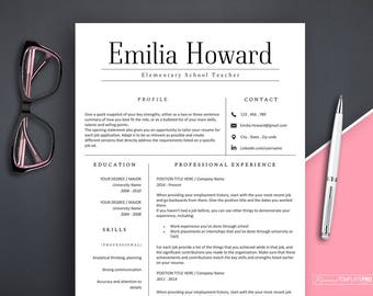 Resume Template, 3 pages Resume Template Word, Modern Resume for Any Profession, Instant Download Resume, Resume Template Teacher