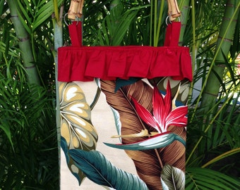 Tote bag, Shoulder Bag with bamboo handles - Made in Maui
