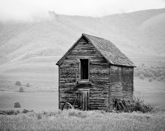 Black and White Wooden Barn Photograph | Farm Decor