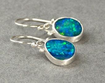 Opal Earrings in Sterling Silver