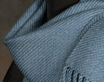 Blue scarf  / gray scarf / handwoven scarf / merino wool scarf / man's scarf / woman's scarf