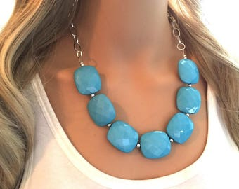 Teal Blue Statement Necklace & Earring set, teal jewelry, Your Choice of GOLD or SILVER, teal bib chunky necklace, teal blue jewelry