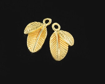 2 of 925 Sterling Silver 24k Gold Vermeil Style Leaf Charms  10x13mm., Polished finish   :vm0866