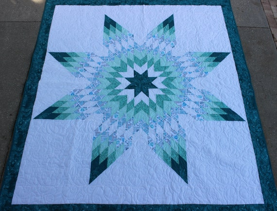 New Teal Native American Star Quilt 81 In X 91 In