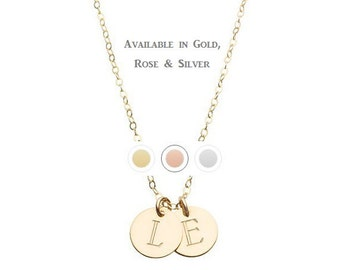 GOLD INTIAL necklace - tiny gold initial necklace -tiny silver disc - custom initial necklace - small gold disc - tiny gold disc