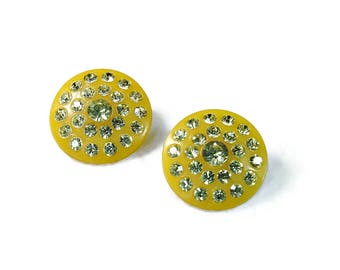 Vintage Yellow Clip On Earrings with Clear Rhinestone