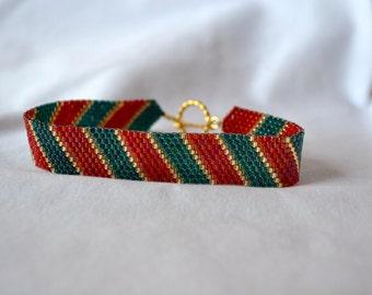 Christmas Stripe Bracelet w/ 14K Gold Plated Toggle Clasp