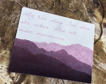Let her sleep For when She Wakes she Will Move Mountains Enamel Metal TIN SIGN Wall Plaque