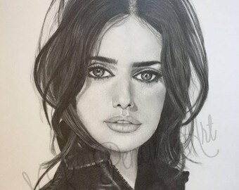 Penelope Cruz Original Drawing in Graphite