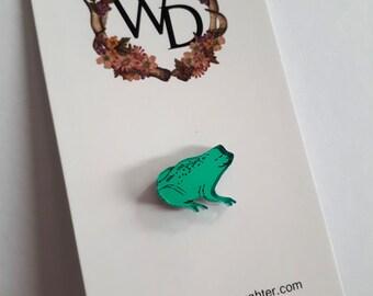 Smug Little Frog Lapel Pin by Winnifreds Daughter