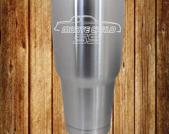 87-88 Monte Carlo SS Etched 30 Oz. Ozark Trail Stainless Steel Cup, Etched Cup, Etched Tumbler