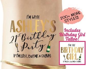 21st Birthday Party Tattoos - birthday favor - finally 21 - 30th birthday party - birthday shirt - 21st birthday sash - 21st birthday tiara