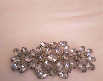 Vintage Rhinestone Brooch and Pendant (two in one) - Silver Tones - Clear Sparkly Rhinestones - 1960s - Wedding/Bridal/Birthday