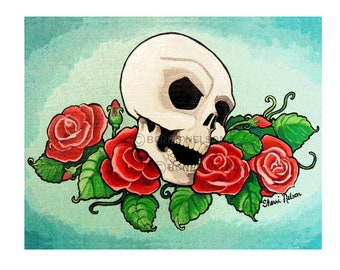 Skull and Roses tattoo Poster digital file for Printing Poster Sized - Bones Nelson