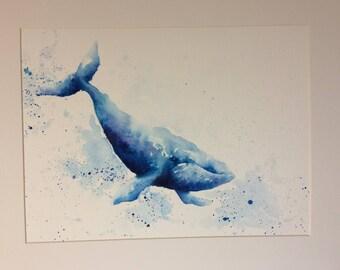 Whale print - Giclee print - watercolour - blue - A4 & A3