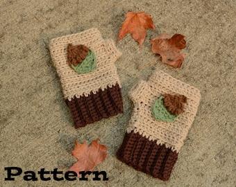 PDF Pattern - Crochet Acorn Fingerless Gloves, Crochet Gloves, Crochet Mitts